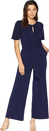 (eci Women's Keyhole Neck Tie Front Jersey Jumpsuit Navy Large)
