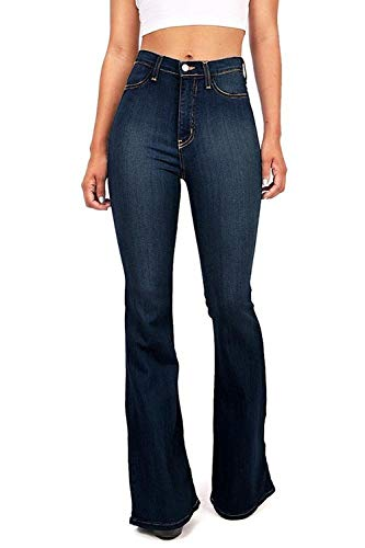 Wax / Jack David Jean Womens Juniors 70s Trendy Slim Fit Flared Bell Bottom Denim Jeans Pants (Jack David Hi Waist Dark Blue N678hw, 0)