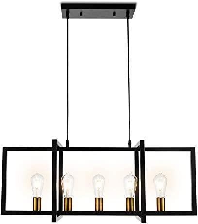 Modern Kitchen Island Light Pendant Chandelier 5-Light Ceiling Light Industrial Pendant Lighting Fixture Matte Black with Antique Brass Finish