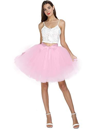 Women's High Waist Princess Tulle Skirt Adult Dance Petticoat A-line Wedding Party Tutu Pink]()