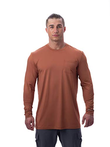 Arctic Cool Men's Instant Cooling Long Sleeve Pocket Workwear Shirt Performance Tech Breathable UPF 50+ Sun Protection Moisture Wicking Comfortable Work Quick Drying Top, Copper, XL