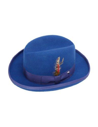 New Mens 100% Wool Royal Blue Godfather Style Homburg Fedora Hat