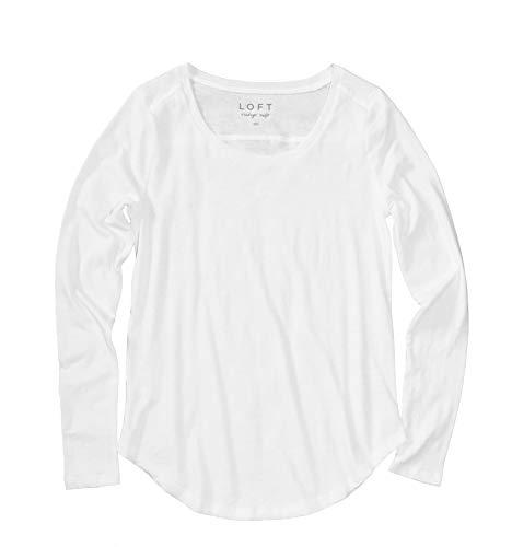 Ann Taylor LOFT - Women's Long Sleeve Vintage Cotton Tee (L, White) from Ann Taylor LOFT