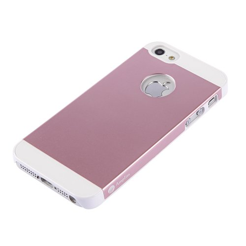Amplim Alloy for Apple iPhone SE / 5 / 5S: Premium Pink Anodized Aluminum + High Quality PC Hard Case (AT&T, Verizon, Sprint, T-Mobile) Retail Packaging