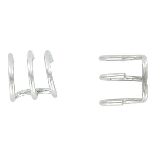 2pcs Stainless Steel 3-Row Ear Cuff Hoop Wrap Cartilage Earring Silver