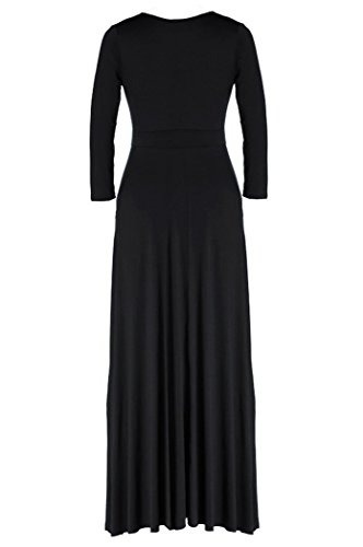 Neck Evening Maxi V POSESHE Women's Black Plus Sleeve 02 Dress Short Party Solid Size wpCBCqt