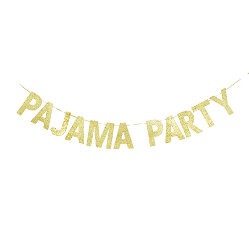 (Pajama Party Banner, Girls' Night Fiesta Party Sign Decorations Gold Gliter)