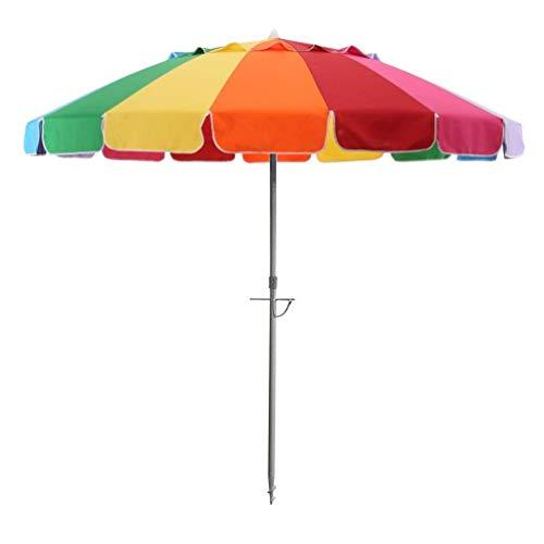 Rainbow Beach Umbrella 8 FT Portable Wind Beach Umbrella Folding Beach Umbrella with Metal Tilt Screw Anchor and Carrying Bag (8ft, Rainbow)