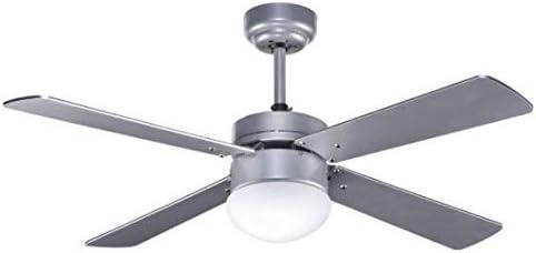 Ventilador de techo plateado TRAMONTANA con luz y control remoto, Fabrilamp.: Amazon.es: Iluminación
