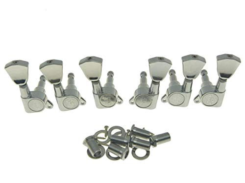 Wilkinson 3L3R Chrome E-Z-LOK Post Guitar Tuners EZ Post Guitar Tuning Keys Pegs Machine Heads with Tulip Button for Les Paul or Acoustic Guitar