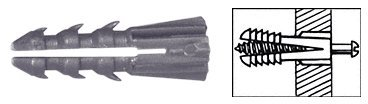 C.R. LAURENCE 1349 CRL 1/4'' Plastic Screw Anchor Without Shoulder - 500 Pack