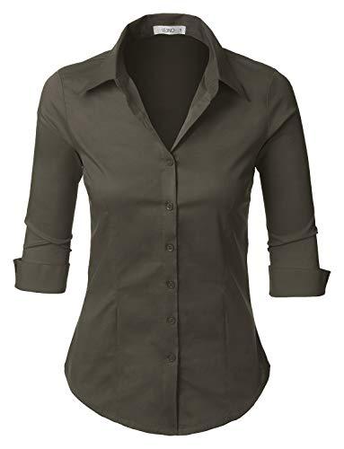 LE3NO Womens 3/4-Sleeve Easy Care Shirt Darkgray ()