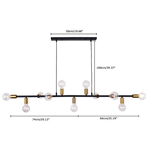 Lingkai Modern Chandelier Kitchen Island Light 11-Light Pendent Hanging Lighting Ceiling Light Black with Antique Brass Socket Finish