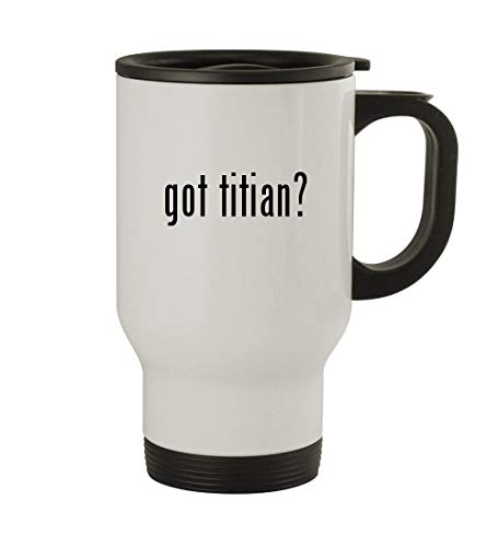 Adams Titian Ware - got titian? - 14oz Sturdy Stainless Steel Travel Mug, White
