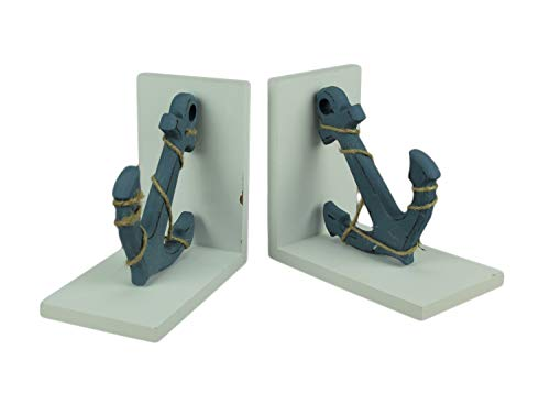 Chesapeake Bay Blue and White Nautical Anchor Bookends