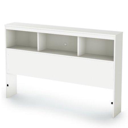 54//60/'/' Pure White South Shore Vito Full//Queen Bookcase Headboard