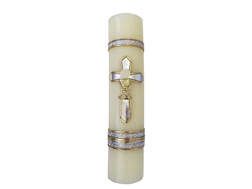 Silver-tone Cross First Communion Candle Vela de Primera Comunion con Cruz Plateada Communion Candle