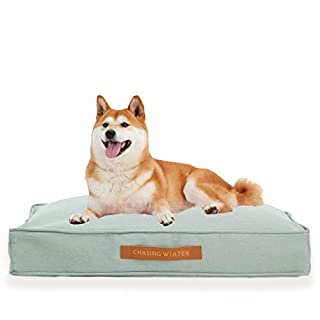 Chasing Winter Pet Beds/Dog Beds/Calming Bed for Dogs with Orthopedic Memory Foam, Removable Cover, Heavy-Duty Linen Look Cover (Medium,Sage)