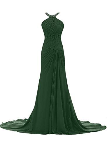 ivyd ressing Mujer Elegante Funda de línea croma gasa Prom vestido pelota para vestido de noche Dunkelgruen