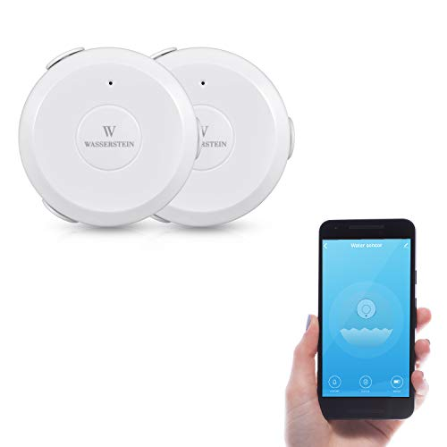 AC Powered Smart Wi-Fi Water Sensor, Flood and Leak Detector with 6ft/1.8m Cable- Alarm and App Notification Alerts, No Expensive Hub Required, Simple Plug & Play by Wasserstein (2 Pack)