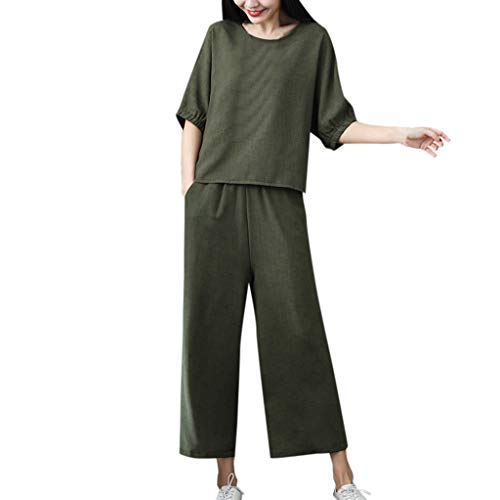 Womens 2 Pieces Outfits Bamboo Cotton Linen Solid O Neck Shirt Top 7 Points Wide Leg Pants Set Army Green
