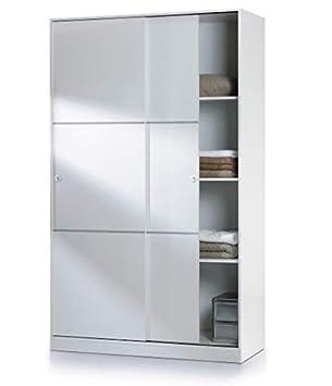 HABITMOBEL Armario 120 Puertas correderas + Colgador Interior + estantes + CAJONERA Interior