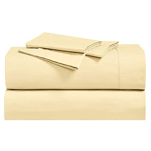 (Abripedic Crispy Percale Sheets, 300-Thread-Count, 4PC Solid Sheet Set, 100% Cotton, 22 Inch Super Deep Pocket, Queen, Gold)