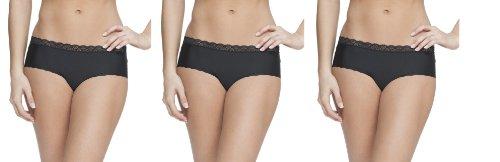 Platinum Lingerie Women's 3 Pack Multicolor Lace Edge Hipster Brief Panties Black Large (Low Rise Print Panties)