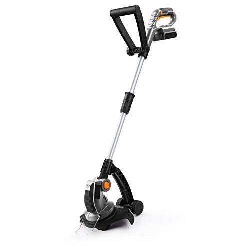 UKOKE U02TE Cordless Electric Power Grass Trimmer & Weed Wacker, Edging and Trimmi, 20V 2A Battery & Charger Included, Silver & Black (Renewed)
