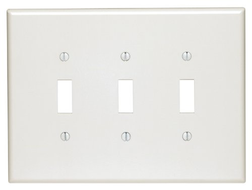 Leviton 88111 3-Gang Toggle Device Switch Wallplate, Oversized, Thermoset, Device Mount, (3 Gang Switch Cover)