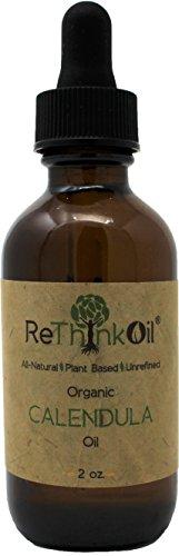 ReThinkOil - 2 oz Organic Calendula -Jojoba oil infusion (glass bottle with dropper top and ECO tube)