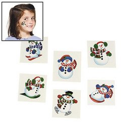 72 SNOWMAN Glitter TATTOOS/Snow/WINTER/CHRISTMAS PARTY FAVORS/HOLIDAY/6 DOZEN 1.5""