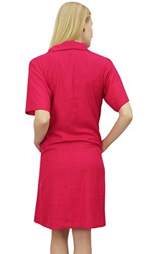 con Nighty collare Bimba Rosa Shirt tasche Fucsia Sleepshirt femminile dentellato le 75p5OWAqYc