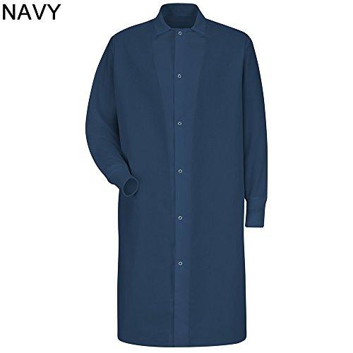 - Red Kap Men's Gripper Front Spun Polyester Pocketless Butcher Coat With Knit Cuffs (3XL, Navy Blue)