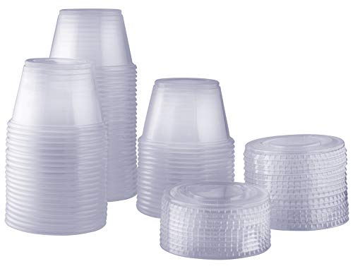 - [100 Sets - 4 oz.] Plastic Disposable Portion Cups With Lids, Souffle Cups, Jello Cups