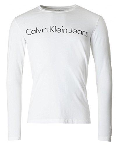 a T lunghe di da Calvin bianca maniche Klein shirt uomo 7pxT5