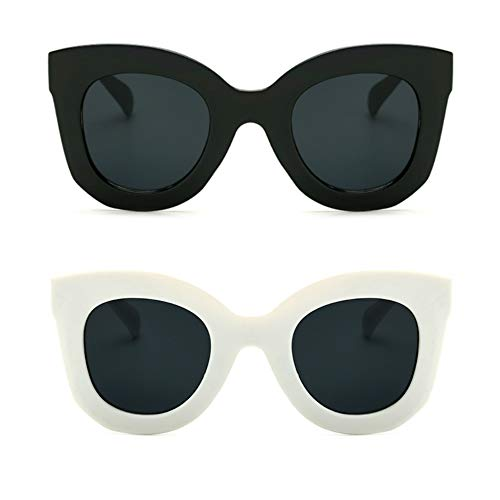 - Butterfly Sunglasses Semi Cat Eye Glasses Plastic Frame Clear Gradient Lenses (Black+White, 45MM)