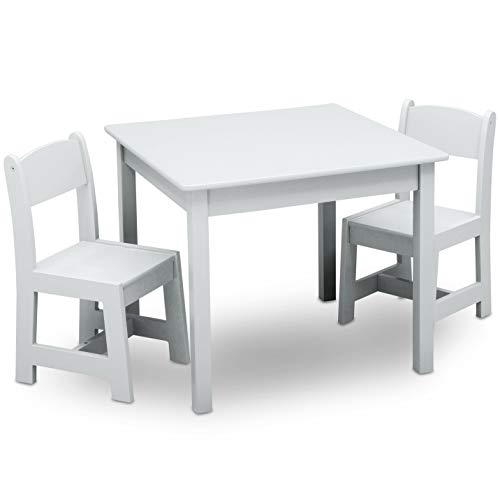 Delta Children MySize Kids Wood Table and Chair Set (2 Chairs Included), Bianca White by Delta Children (Image #6)