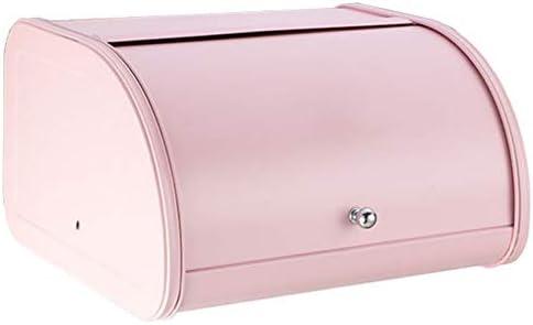 ブレッドケース YKBBA ロールトップ蓋キッチン用品ボックス付きメタルパンビンキッチンストレージコンテナ 30*27*17.8cm ピンク