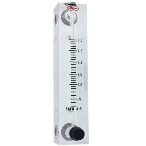 Dwyer Visi-Float Flowmeter, VFB-50-SSV, Acrylic Block, 3% FS Acc, .3-3 SCFH air, SS Valve