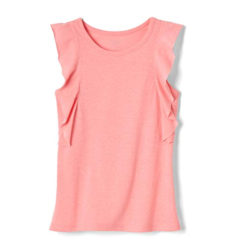 (French Toast Girls' Toddler Side Ruffle Tank Top, Neon Candy Heather, 4T)