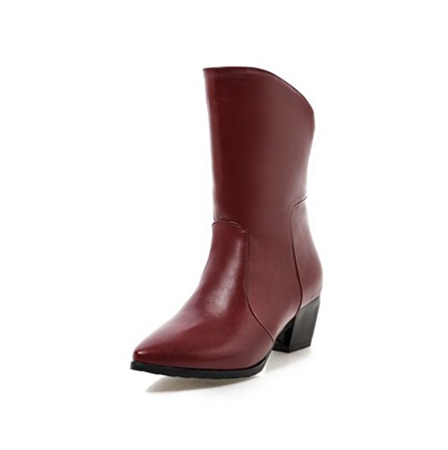 Allhqfashion Heels Kitten Women's Soft Zipper Solid Boots Pointed Red Closed Material Toe UUa6Zqw