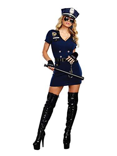 Womens Cop Halloween Costume (Dreamgirl Women's Officer Pat U. Down, Blue,)
