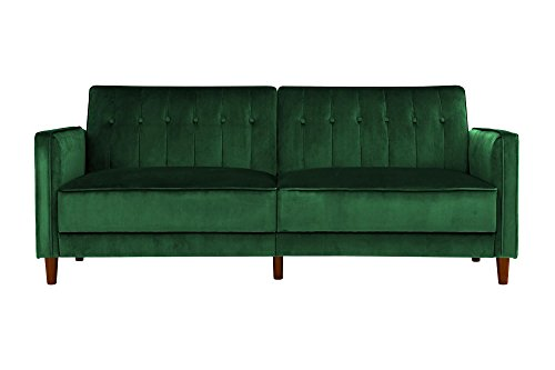 DHP Ivana Tufted Futon, Green Velvet (Green Emerald Sofa Sectional)