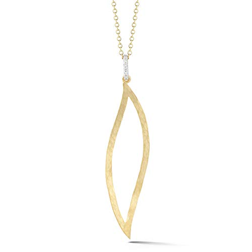 I REISS 14K Yellow Gold 0.06ct TDW Diamond Accent Open Leaf Pendant Necklace ()