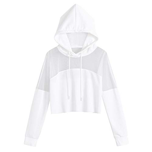 FDelinK Clearance! Womens Drawstring Sheer Long Sleeve Hoodies Crop Top Hooded Shirts Casual Blouse (White, ()