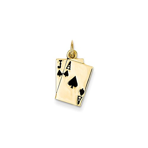 14k Yellow Gold Blackjack Playing Cards Charm by Bijou
