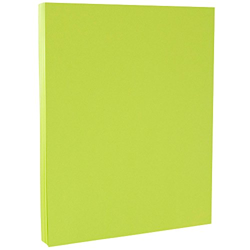 JAM PAPER Colored 24lb Paper - 8.5 x 11 - Ultra Lime Green - 100 Sheets/Pack