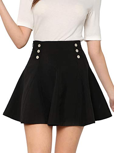SheIn Women's Basic Solid Button Front High Waist Flared Skater Mini Skirt Black S