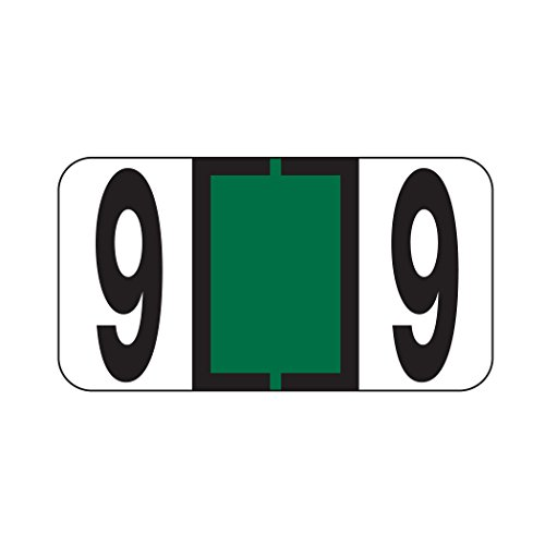 AMZfiling Numeric Labels- Number 9, Dark Green, Reynolds & Reynolds RF Compatible (Polylaminated, 500/Roll)